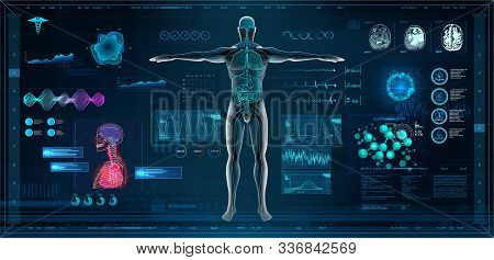 Mrt And Body Scan In Hud Style Design, Human Body, Organs And Brain Scan With Pictures. X-ray Hi-tec