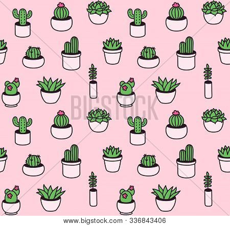 Seamless Pattern Of Hand Drawn Cacti And Succulents In Cute Little Pots. Houseplant Doodles In Simpl
