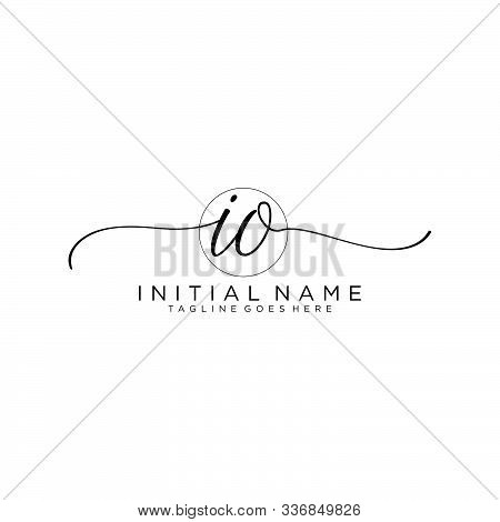 Io Initial Handwriting Logo With Circle Template Vector.