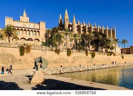 Mallorca Island, Balearic Islands, Spain - January 3, 2019: Sightseeing Of Mallorca. La Seu, The Got