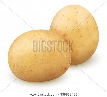 Isolated Potatoes. Two Whole Potatoes Isolated On White Background With Clipping Path