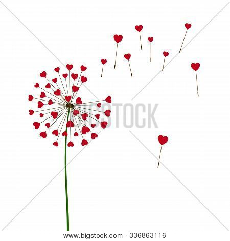 Romantic Valentine's Background. Dandelions With Flying Hearts. February 14 Holiday Of Love. Vector