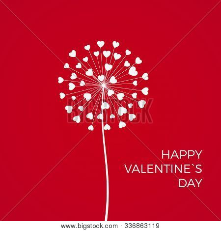 Red Romantic Valentine's Background. White Dandelions With Hearts. February 14 Holiday Of Love. Vect