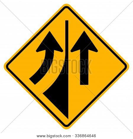 Warning Road Sign Merging From The Left,vector Illustration, Isolate On White Background Label. Eps1