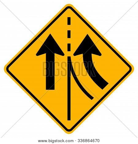 Warning Traffic Sign Merging Right Lane,vector Illustration, Isolate On White Background Label. Eps1