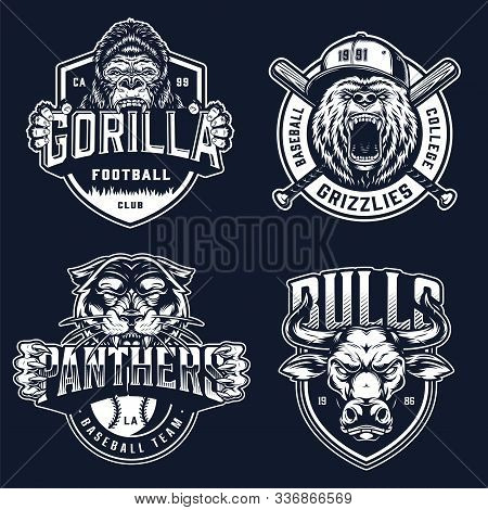 Baseball And Soccer Clubs Logotypes With Ferocious Angry Gorilla Bear Black Panther Bull Mascots In