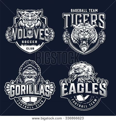 Vintage Monochrome Sport Teams Badges With Cruel Aggressive Ferocious Animals And Inscriptions On Da