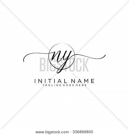 Ny Initial Handwriting Logo With Circle Template Vector.