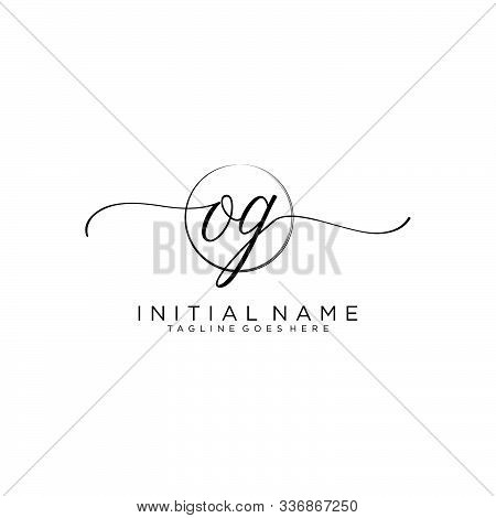 Og Initial Handwriting Logo With Circle Template Vector.