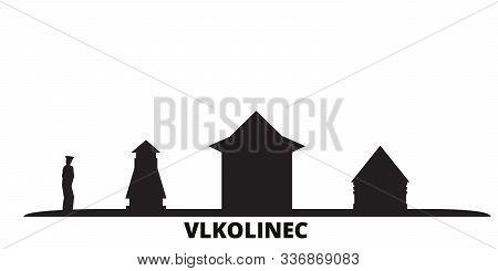 Slovakia, Vlkolinec City Skyline Isolated Vector Illustration. Slovakia, Vlkolinec Travel Cityscape