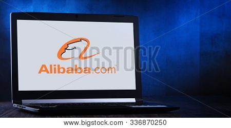 Poznan, Pol - Nov 14, 2019: Laptop Computer Displaying Logo Of Alibaba, A Chinese Multinational Cong