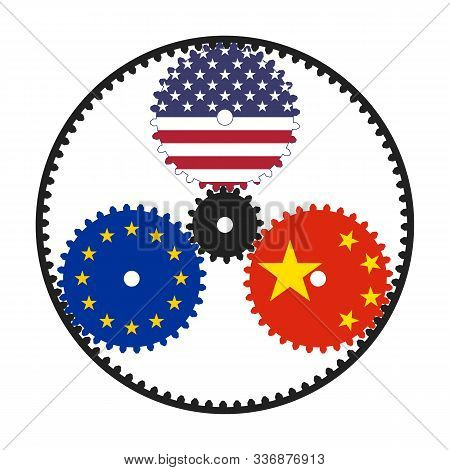 Planetary Gear With Flags Of Usa, Eu And China. An Illustrative Scheme Of World Politics And Economy