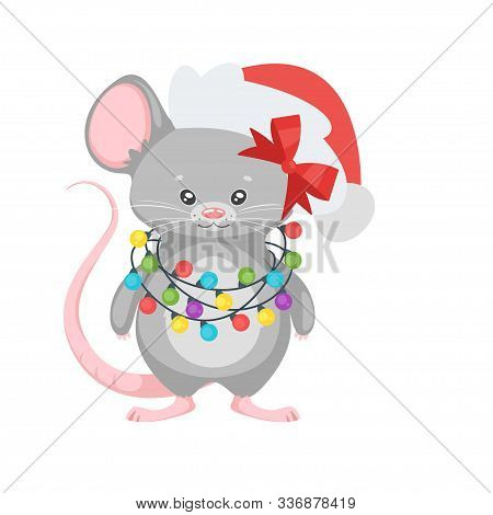 New Year Mouse With Garland. Cute Animal In Santa Claus Hat Holding Christmas Lights. Chinese Zodiac