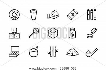 Sugar Line Icon. Candies And Coffee Sweeteners, Sugar In Cubes Bags And Packages, Cane And Stevia Or