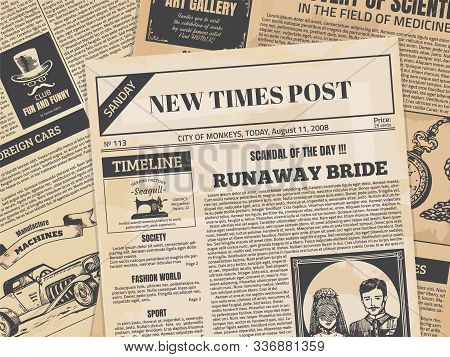 Vintage Newspaper. Retro Newsprint Backdrop Or Magazine Page With Grunge Texture And Old Headers. Ve
