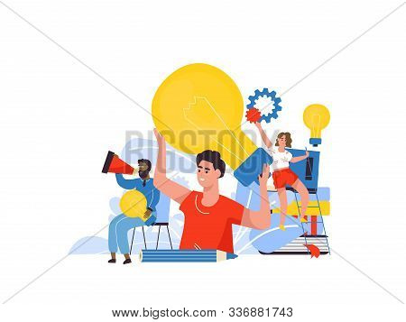 Business Idea Concept. Cartoon Characters At Business Meeting, Brainstorm For New Solutions. Vector
