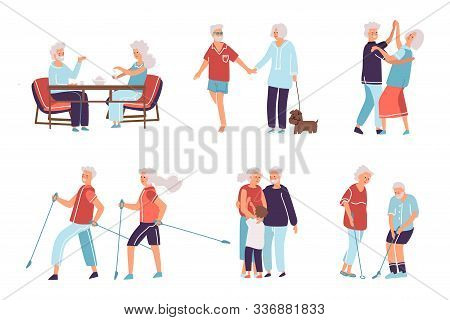 Old People. Cartoon Hand Drawn Elderly Persons And Couples, Grandparents In Different Activities. Fl