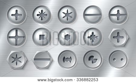 Ealistic Screws. Realistic Attached Nails Bolts And Fasteners On Metal Background. Vector Round Stai
