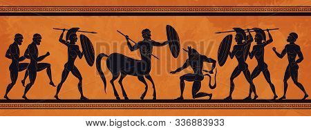 Ancient Greece Scene. Historic Mythology Silhouettes With Gods And Centaurs, Figures And Pattern For