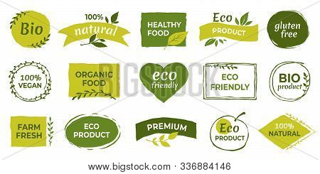 Eco Logo. Organic Healthy Food Labels And Vegan Products Badge, Nature Farmed Food Tags. Vector Desi