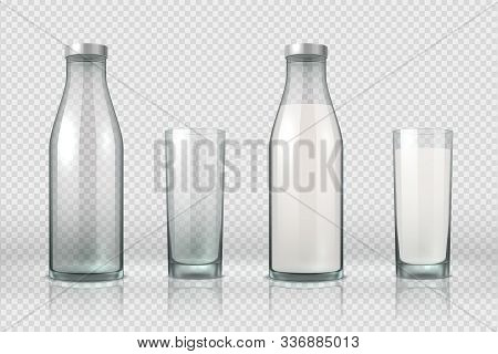 Glass And Bottle With Milk. Realistic Empty, Half Full And Full Glass Bottle, 3d Mockup Milk Product