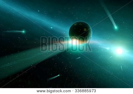Green Exoplanet In Deep Space. Elements Of This Image Furnished By Nasa For Any Purpose.