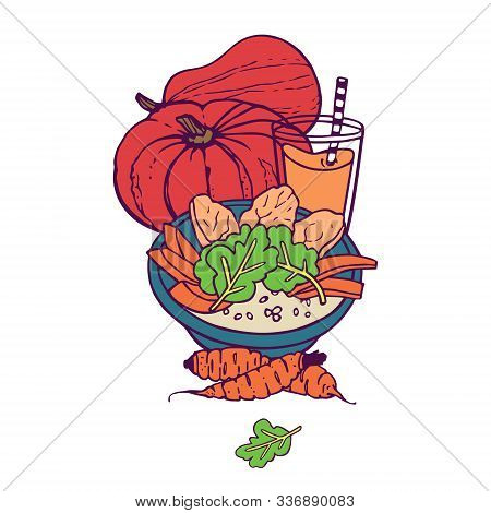 Pumpkin And Carrot Healthy Meal And Juice Or Smoothie. Hand-drawn In Cartoon Style, Colored Artwork