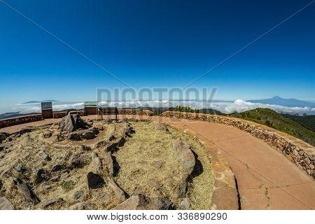 180 Panoramic View From Garajonay Peak In La Gomera. Paradise For Hiking. Islands Of Tenerife And La