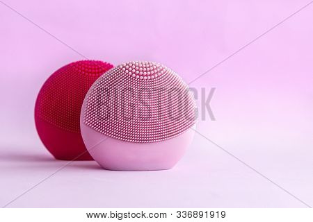 Silicone Facial Cleansing Brushes With Cleansing Brush For Massaging Skin Care On Pink Background. P