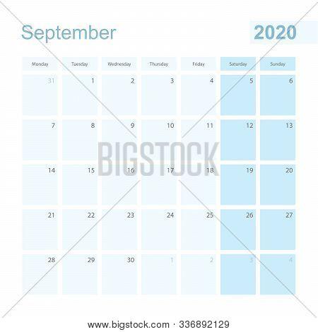 2020 September Wall Planner In Blue Pastel Color, Week Starts On Monday. Calendar For September 2020