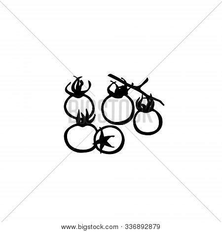 Cherry Tomatoes Line Art. Traditional Hand Drawing. Cartoon Style. Black  Outline Isolated On White