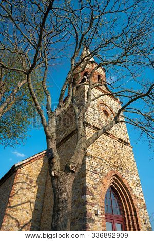 Tower Of The Immanuel Church In The Magdeburg District Of Alt-prester. Today The Church Is Used As A