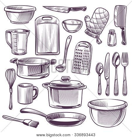 Kitchen Utensils. Sketch Cooking Equipment. Frying Pan, Knife And Fork, Spoon And Bowl, Cup And Glas