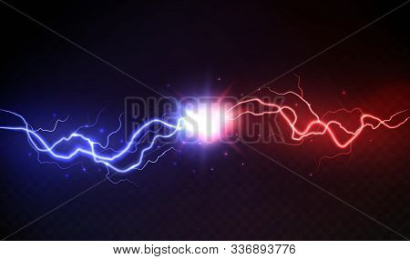 Lightning Collision. Powerful Colored Lightnings, Electric Forces Thunderbolt Clash Electrical Energ