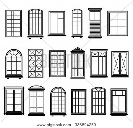 Window Frames. Vintage Framing Windows, Blank Decorative Glass Frame Construction. Black Silhouettes