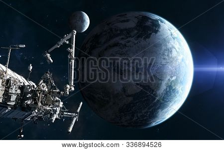 Earth And Moon, Iss In Blue Light. Solar System. Science Fiction. Elements Of This Image Furnished B