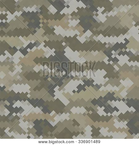 Urban Camouflage Background. Army Abstract Modern Military Pattern. Green Pixel Fabric Textile Print