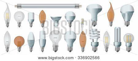Halogen Bulb Realistic Vector Set Icon. Illustration Of Isolated Realistic Icon Halogen Of Light Lam