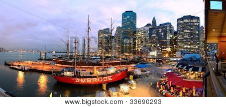 NEW YORK CITY - MAY 22: South Street Seaport May 22, 2012 in New York, NY. The port is a designated historic district containing the largest concentration of 19th century landmarks in the city.