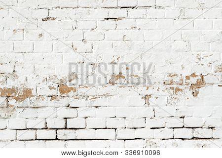 Background Of Rustic White Brick Wall, Worn Masonry Pattern