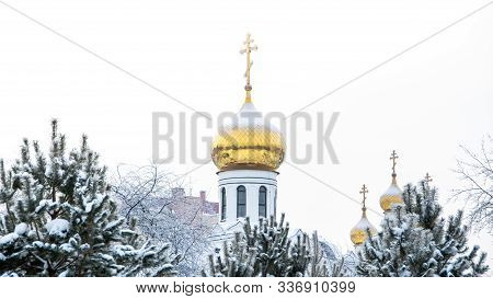 Golden Dome Of сhurch In Snow Forest. Road To Faith, Symbol Of Orthodoxy