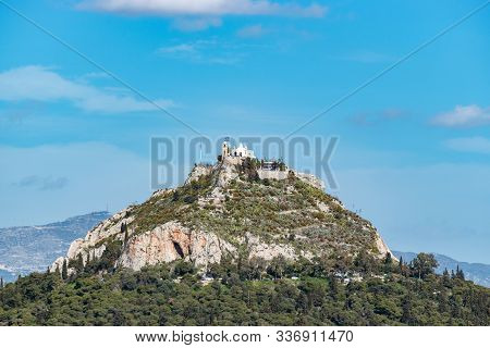Aerial City View On Mount Lycabettus In Athens, Greece.