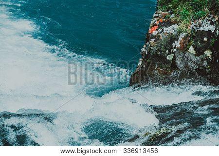 Mountain Blue River In Mountains. Sea Rocks And Turquoise Sea. Sea Voyage Along Coast.