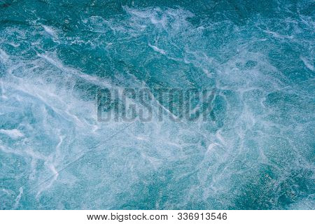 Turquoise Color Of River Water. Blue Sea, Ocean For With Waves
