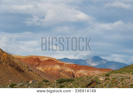 Rocks Under Blue Sky. Sunny Day In Mountain Valley. Colorful Hills, Hiking In Summer