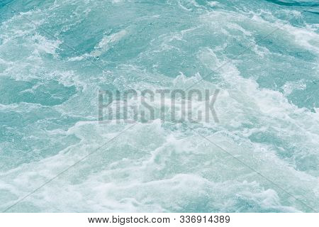 Blue Ocean Waves, Tide. Swift Current Of River