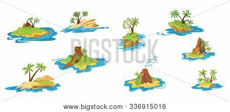 Set Of Different Scenes Of Islands With Huts, Tropical Trees, Mountains, Volcano, And Waterfall. Vec