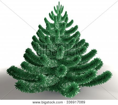 3d Illustration Of Green Christmas Spruce Tree Isolated On White
