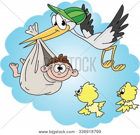Cartoon Stork Carrying The Newborn Baby Vector Illustration