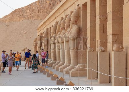 Tourists Visit The Mortuary Temple Of Hatshepsut, 18th Dynasty Pharaoh, Luxor, Egypt - April 16, 201